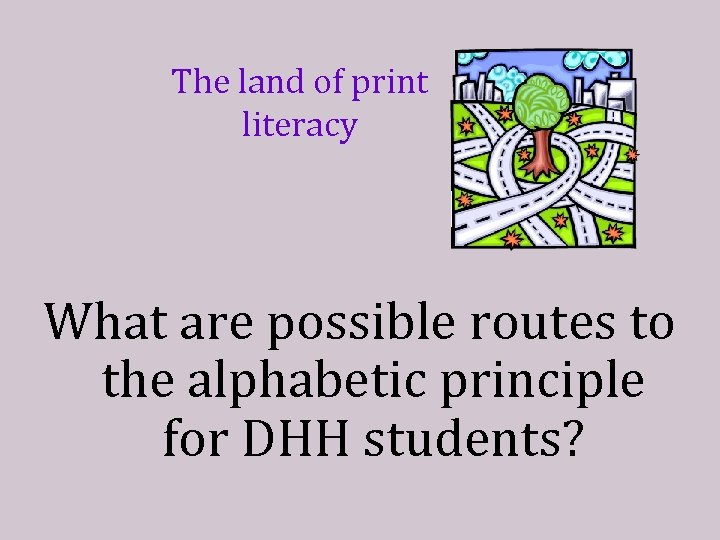 The land of print literacy What are possible routes to the alphabetic principle for