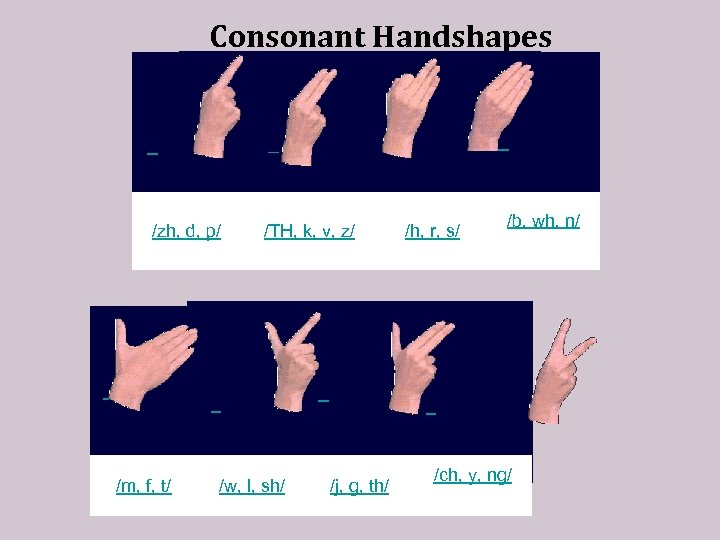 Consonant Handshapes /zh, d, p/ /TH, k, v, z/ /h, r, s/ /b, wh,