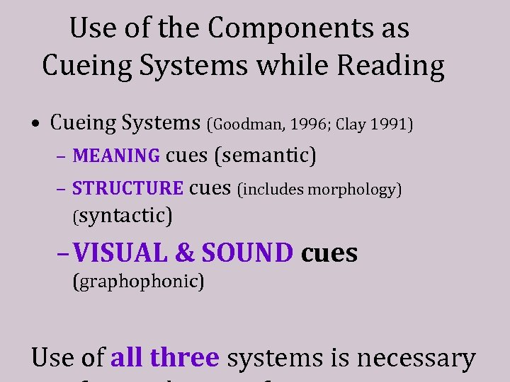 Use of the Components as Cueing Systems while Reading • Cueing Systems (Goodman, 1996;