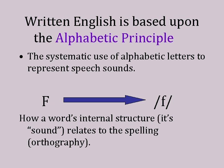 Written English is based upon the Alphabetic Principle • The systematic use of alphabetic