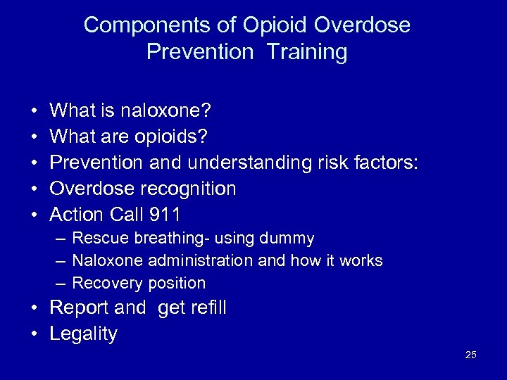 Components of Opioid Overdose Prevention Training • • • What is naloxone? What are