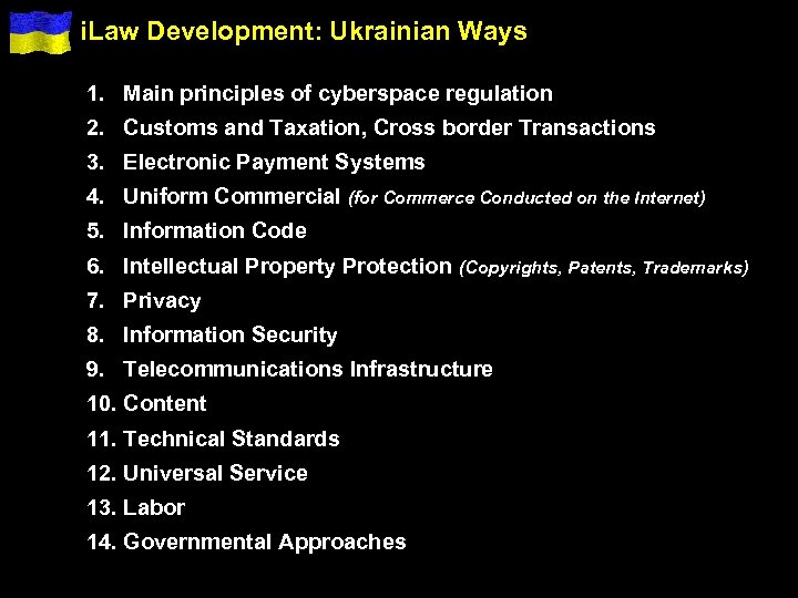 i. Law Development: Ukrainian Ways 1. Main principles of cyberspace regulation 2. Customs and