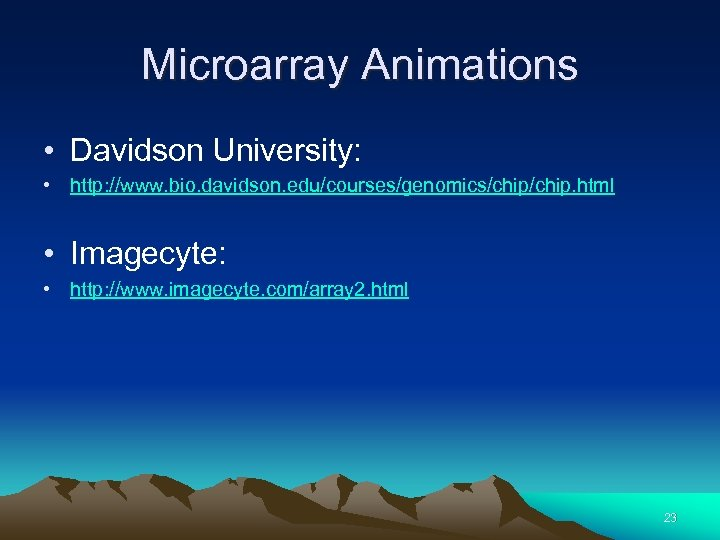 Microarray Animations • Davidson University: • http: //www. bio. davidson. edu/courses/genomics/chip. html • Imagecyte: