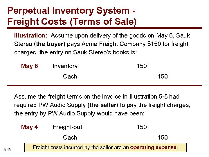 Perpetual Inventory System Freight Costs (Terms of Sale) Illustration: Assume upon delivery of the