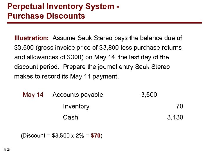 Perpetual Inventory System Purchase Discounts Illustration: Assume Sauk Stereo pays the balance due of