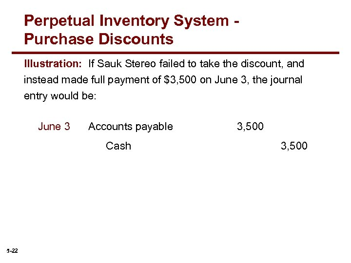 Perpetual Inventory System Purchase Discounts Illustration: If Sauk Stereo failed to take the discount,