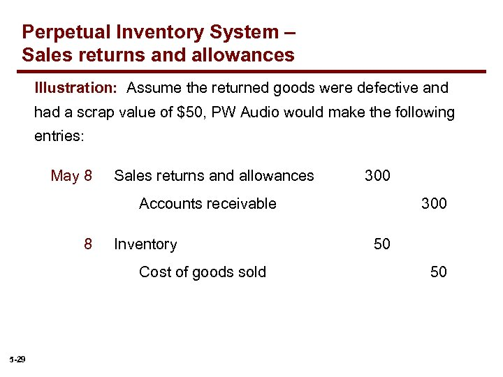 Perpetual Inventory System – Sales returns and allowances Illustration: Assume the returned goods were