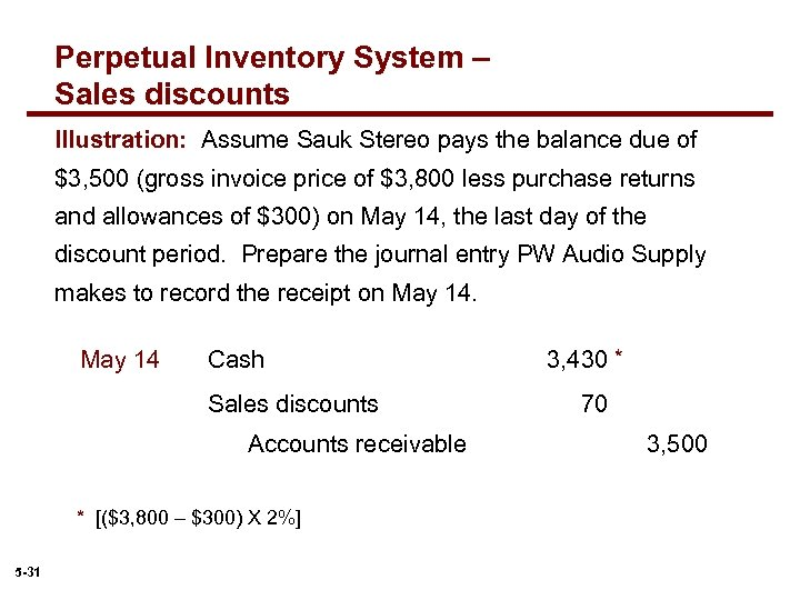 Perpetual Inventory System – Sales discounts Illustration: Assume Sauk Stereo pays the balance due