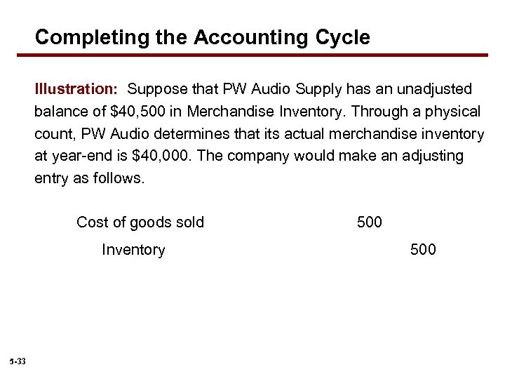 Completing the Accounting Cycle Illustration: Suppose that PW Audio Supply has an unadjusted balance