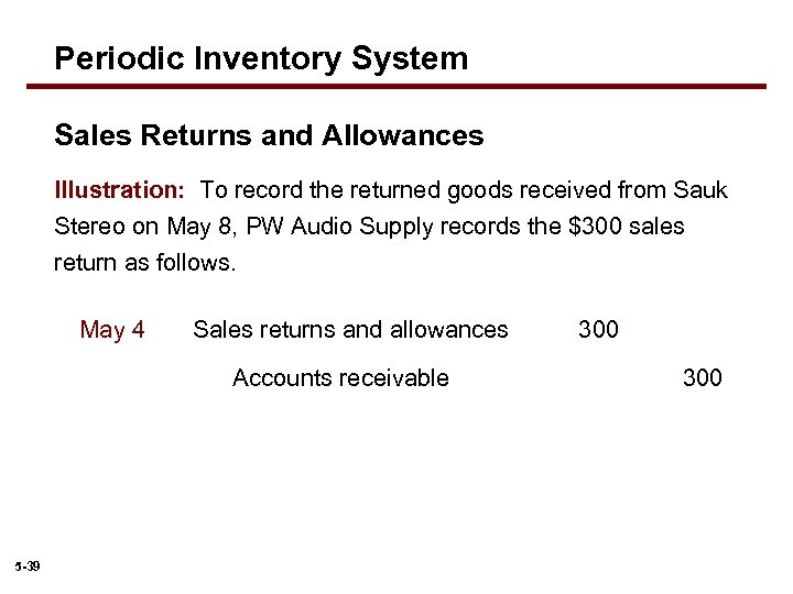 Periodic Inventory System Sales Returns and Allowances Illustration: To record the returned goods received