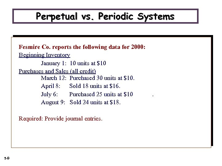 Perpetual vs. Periodic Systems Fesmire Co. reports the following data for 2000: Beginning Inventory