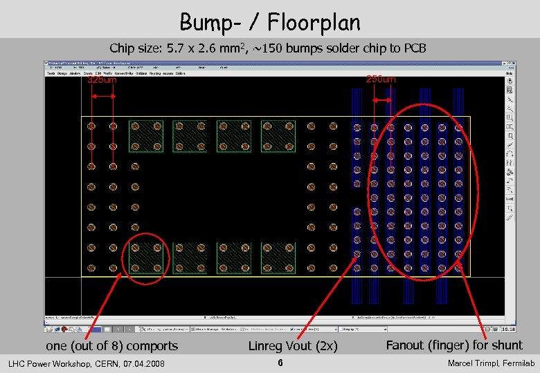 Bump- / Floorplan Chip size: 5. 7 x 2. 6 mm 2, ~150 bumps