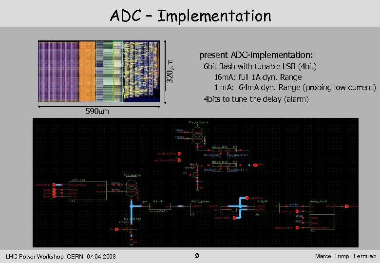320 mm ADC – Implementation present ADC-implementation: 6 bit flash with tunable LSB (4