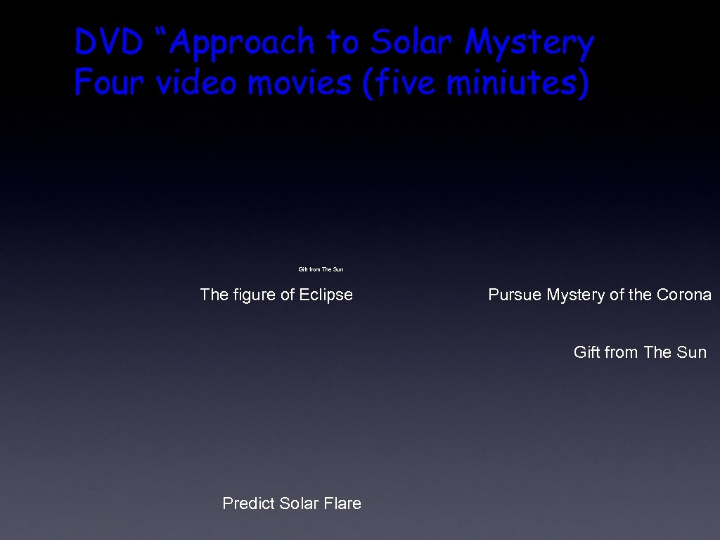 """DVD """"Approach to Solar Mystery Four video movies (five miniutes) Gift from The Sun"""