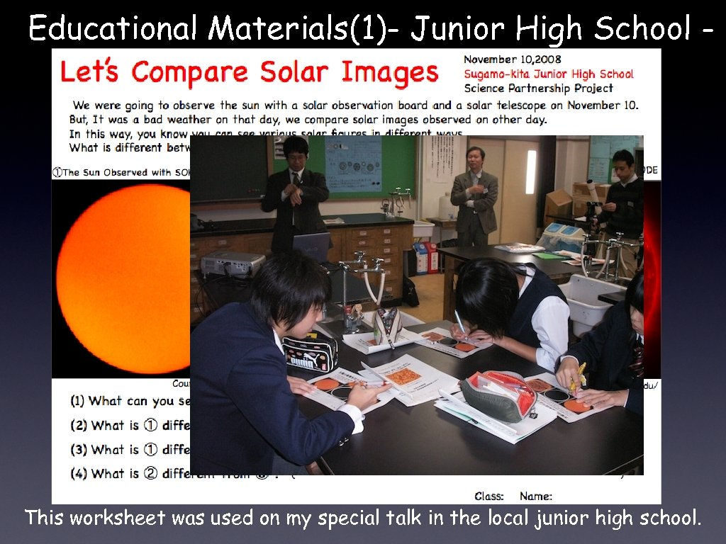 Educational Materials(1)- Junior High School - This worksheet was used on my special talk