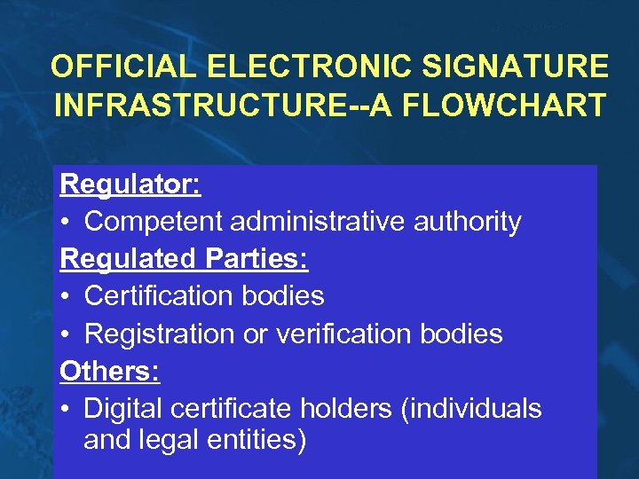 OFFICIAL ELECTRONIC SIGNATURE INFRASTRUCTURE--A FLOWCHART Regulator: • Competent administrative authority Regulated Parties: • Certification