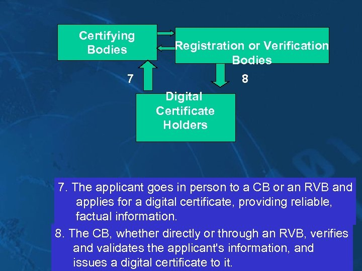 Certifying Bodies Registration or Verification Bodies 7 8 Digital Certificate Holders 7. The applicant