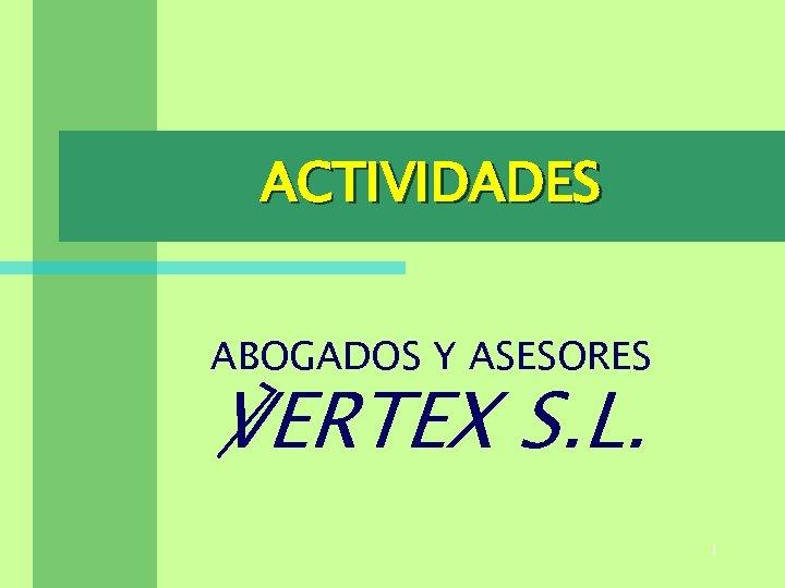 ACTIVIDADES ABOGADOS Y ASESORES ℣ERTEX S. L. 1
