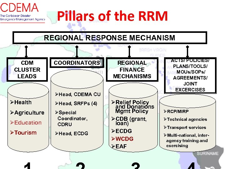 Pillars of the RRM REGIONAL RESPONSE MECHANISM CDM CLUSTER LEADS COORDINATORS REGIONAL FINANCE MECHANISMS
