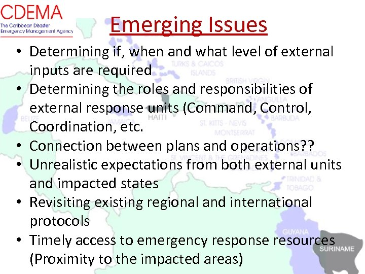 Emerging Issues • Determining if, when and what level of external inputs are required