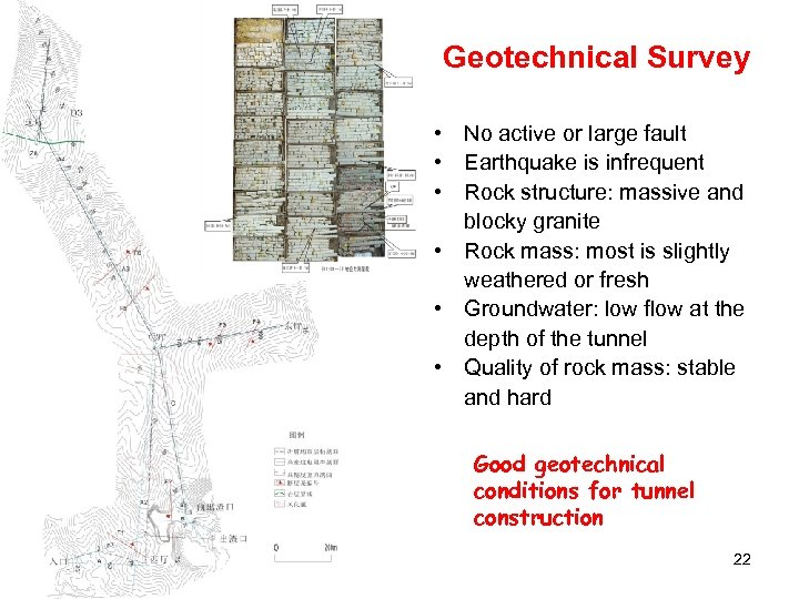 Geotechnical Survey • No active or large fault • Earthquake is infrequent • Rock