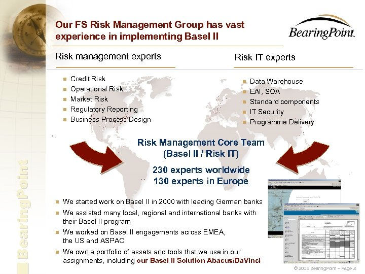 Our FS Risk Management Group has vast experience in implementing Basel II Risk management