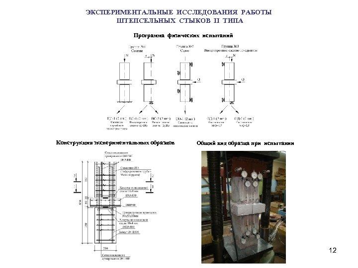 ЭКСПЕРИМЕНТАЛЬНЫЕ ИССЛЕДОВАНИЯ РАБОТЫ ШТЕПСЕЛЬНЫХ СТЫКОВ II ТИПА Программа физических испытаний Конструкция экспериментальных образцов Общий