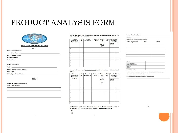 PRODUCT ANALYSIS FORM