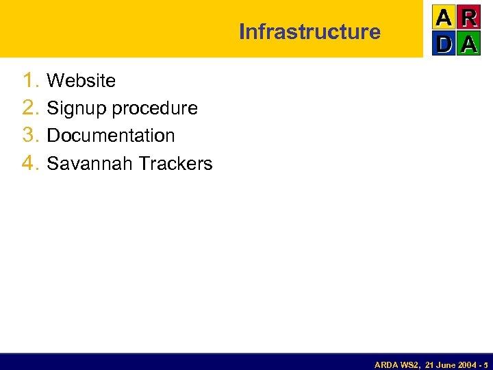 Infrastructure 1. 2. 3. 4. Website Signup procedure Documentation Savannah Trackers ARDA WS 2,