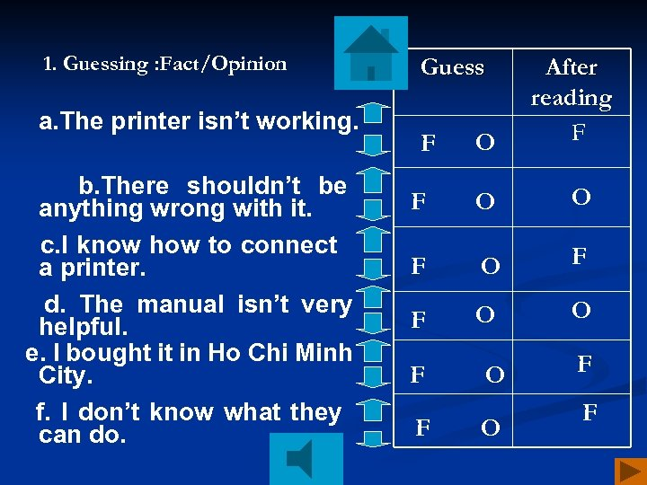 1. Guessing : Fact/Opinion a. The printer isn't working. b. There shouldn't be anything