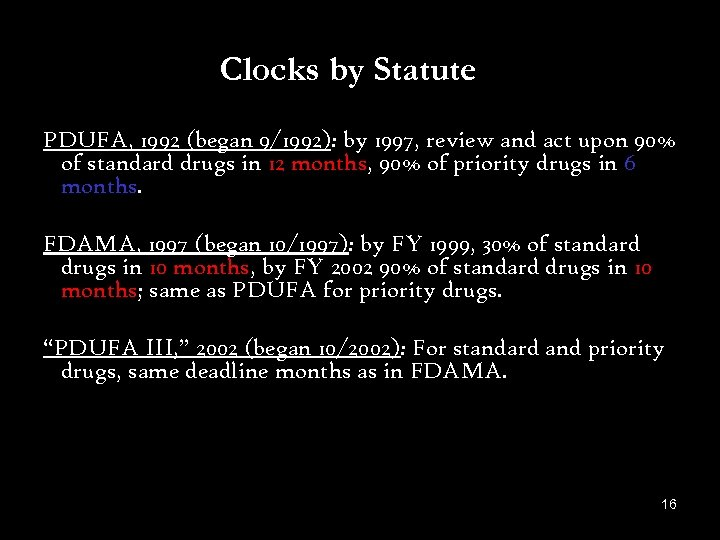 Clocks by Statute PDUFA, 1992 (began 9/1992): by 1997, review and act upon 90%