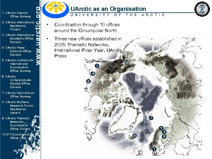 UArctic as an Organisation 1 UArctic Director Office, Norway 2 UArctic International Secretariat, Finland