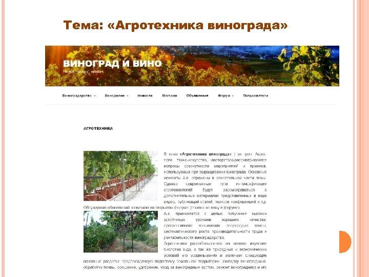 Тема: «Агротехника винограда»
