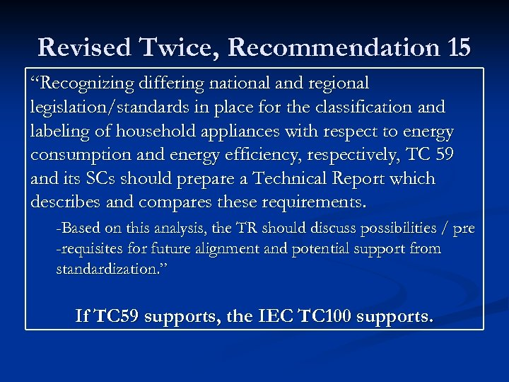 "Revised Twice, Recommendation 15 ""Recognizing differing national and regional legislation/standards in place for the"
