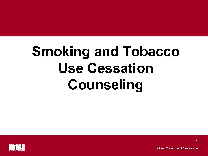 Smoking and Tobacco Use Cessation Counseling 28 National Government Services, Inc.