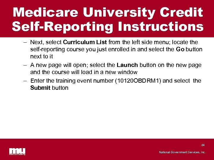 Medicare University Credit Self-Reporting Instructions – Next, select Curriculum List from the left side