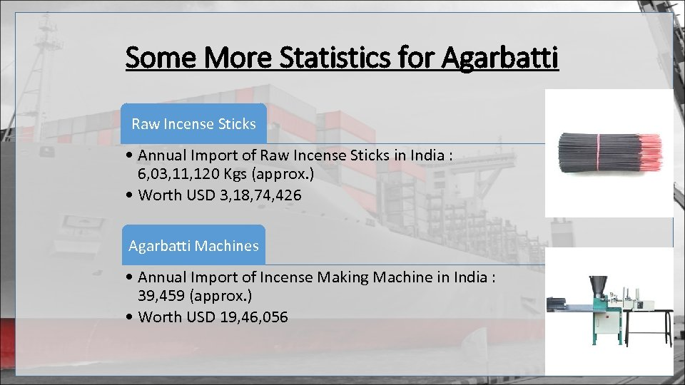 Some More Statistics for Agarbatti Raw Incense Sticks • Annual Import of Raw Incense