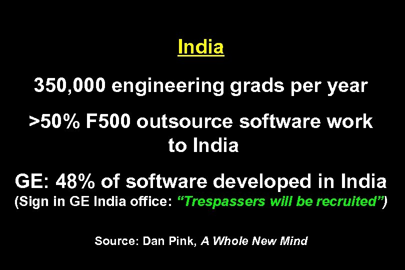India 350, 000 engineering grads per year >50% F 500 outsource software work to