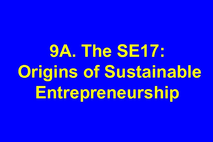 9 A. The SE 17: Origins of Sustainable Entrepreneurship