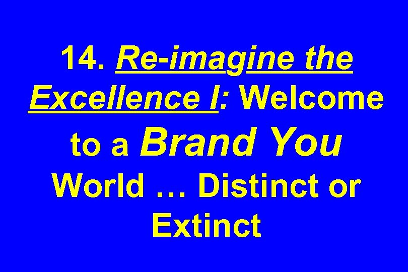 14. Re-imagine the Excellence I: Welcome to a Brand You World … Distinct or