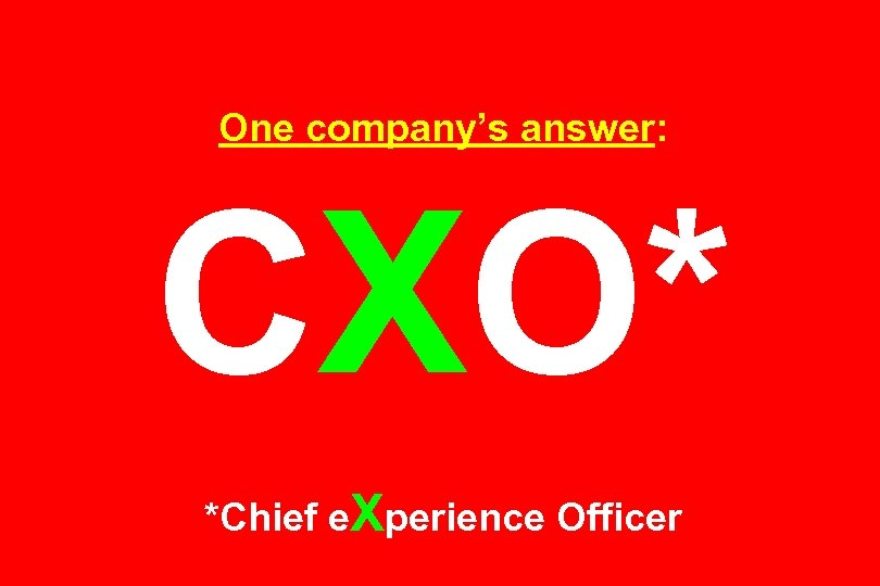 One company's answer: CXO* *Chief e. Xperience Officer