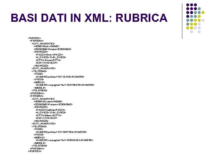 BASI DATI IN XML: RUBRICA <RUBRICA> <PERSONA> <DATI_ANAGRAFICI> <NOME>Giulio</NOME> <COGNOME>Cesare</COGNOME> <INDIRIZZO> <PIAZZA>Bruto</PIAZZA> <N_CIVICO>10</N_CIVICO> <CITTA>Roma</CITTA>