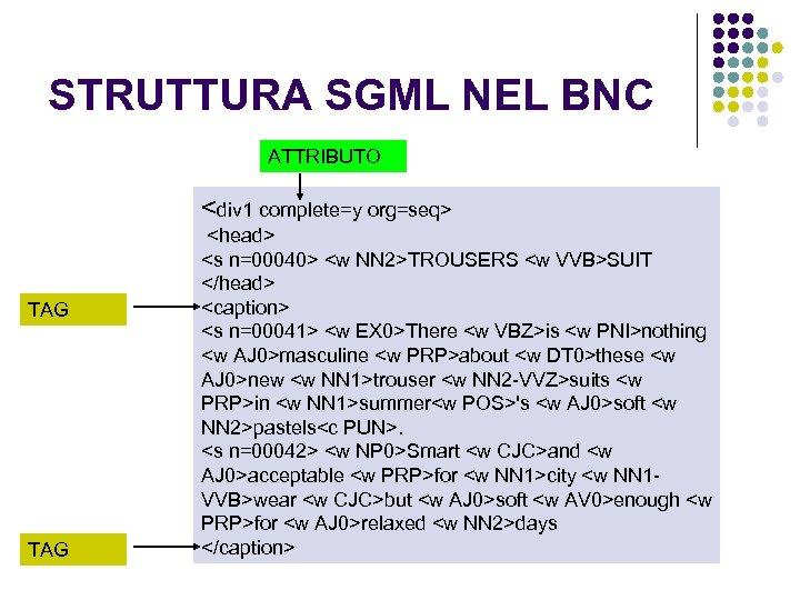 STRUTTURA SGML NEL BNC ATTRIBUTO <div 1 complete=y org=seq> TAG <head> <s n=00040> <w