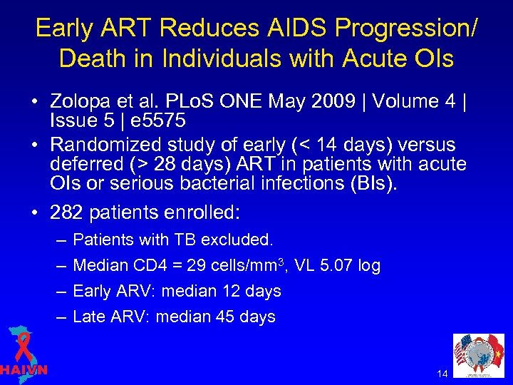 Early ART Reduces AIDS Progression/ Death in Individuals with Acute OIs • Zolopa et