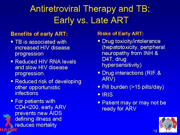 Antiretroviral Therapy and TB: Early vs. Late ART Benefits of early ART: § TB
