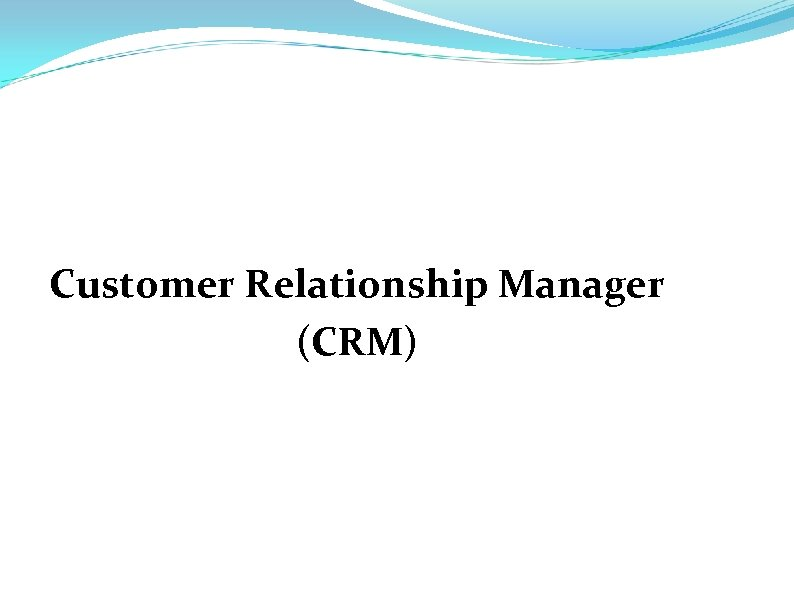 Customer Relationship Manager (CRM)