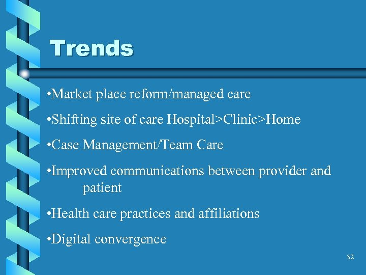 Trends • Market place reform/managed care • Shifting site of care Hospital>Clinic>Home • Case