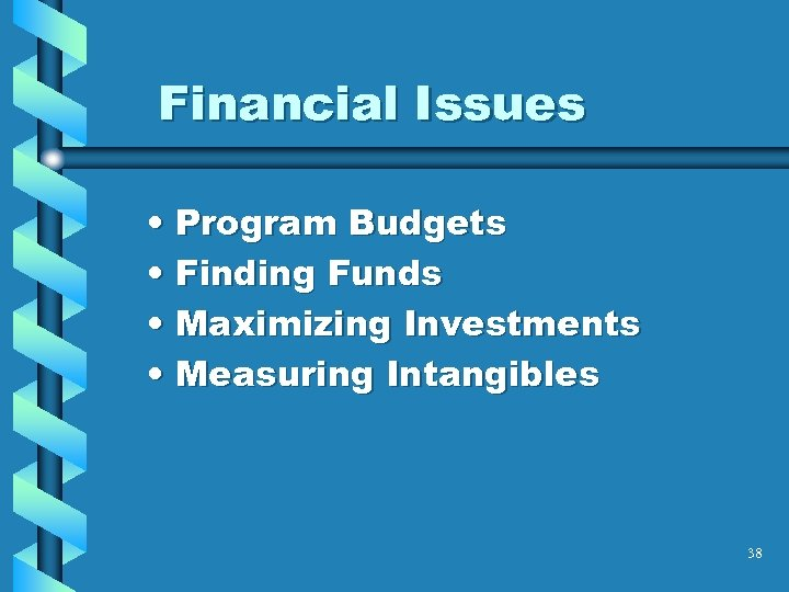 Financial Issues • Program Budgets • Finding Funds • Maximizing Investments • Measuring Intangibles