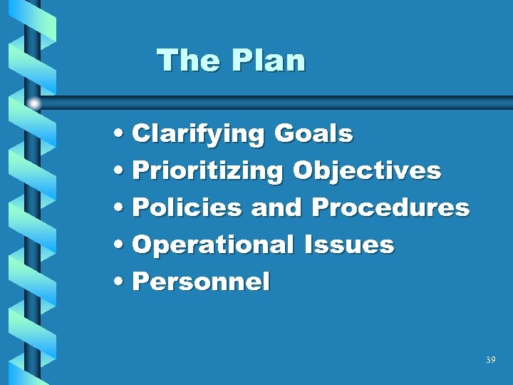 The Plan • Clarifying Goals • Prioritizing Objectives • Policies and Procedures • Operational