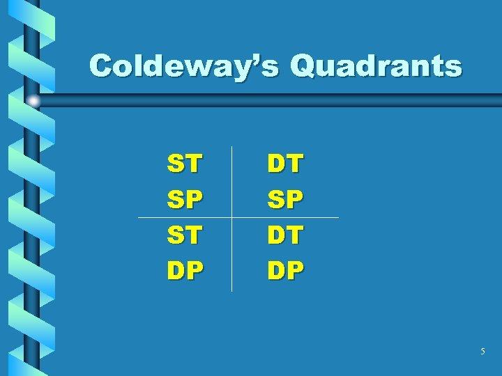 Coldeway's Quadrants ST SP ST DP DT SP DT DP 5